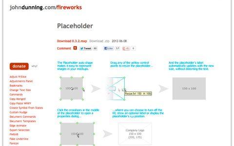 [ Placeholder ] 矩形のサイズが自動的に表示され、ワイヤーフレーム作成に便利な Fireworks 拡張機能