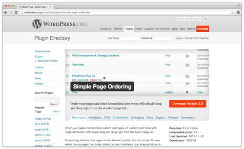 [ Simple Page Ordering ] ドラッグ&ドロップで固定ページの並び替えができる WordPress プラグイン