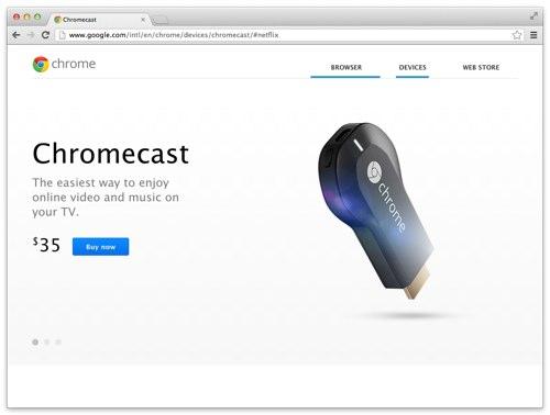 Google が発表した、テレビに刺す無線ストリームアダプタ [ Chromecast ] が ( ・∀・)イイ!!
