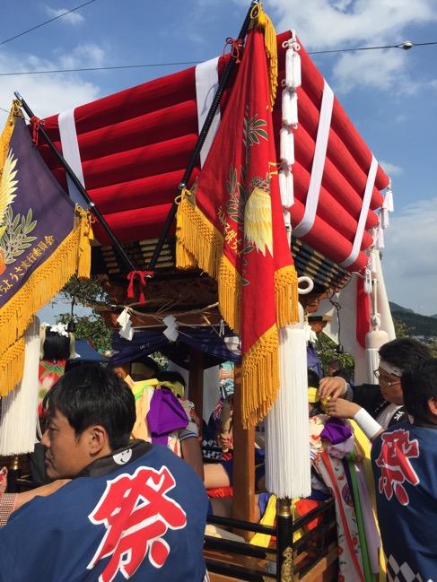 お祭りデビュー!久米石清水八幡宮のお祭りに参加しました〜。