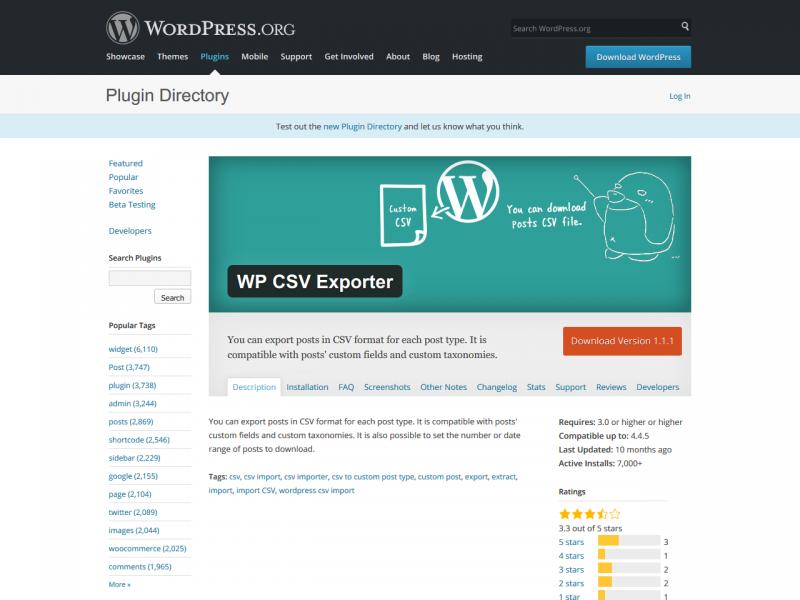[ WP CSV Exporter ] 投稿記事を CSV でエクスポートできる WordPress プラグイン